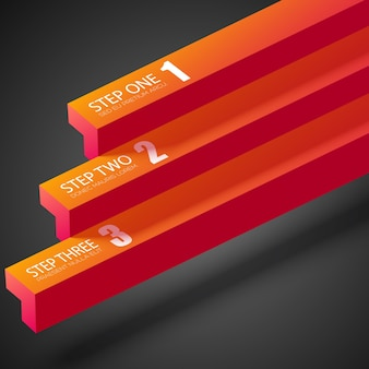 Web business infografik mit orangefarbenen geraden balken und drei schritten bei dunkelheit