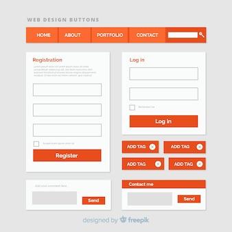 Web-button-sammlung in flachen stil