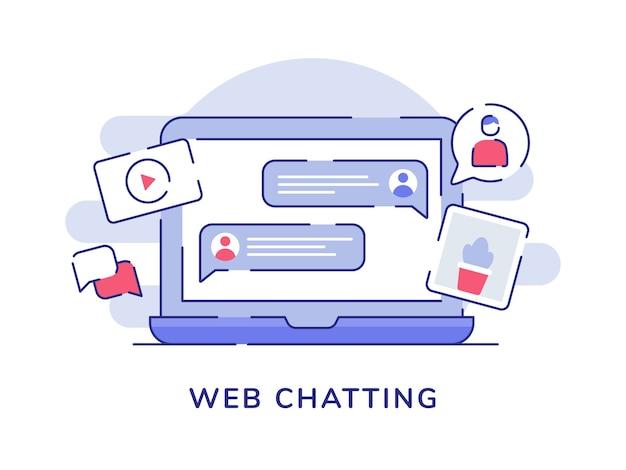 Web-chat-konzept blase talk bild video auf display laptop-bildschirm mit flachen umriss-stil