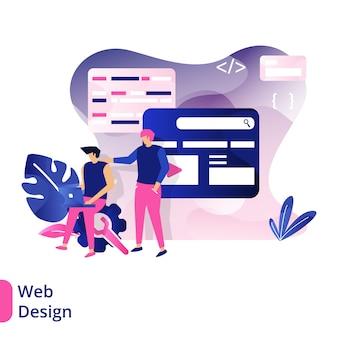 Web design, das konzept von menschen, die sich vor der tafel besprechen