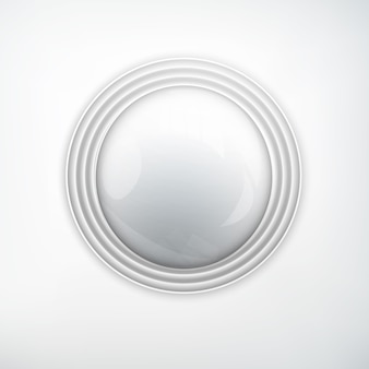 Web-design-element-konzept mit realistischem rundknopf aus glänzendem metallsilber auf licht isoliert