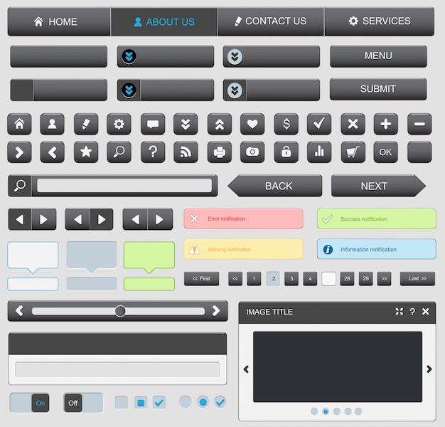 Web-design-elemente schwarz gesetzt