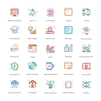 Web design flat icons pack