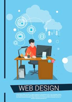Web-designer-geschäftsmann-arbeits-desktop-computer-arbeitsplatz