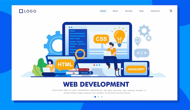Web development charakter landing page illustration