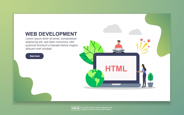Web-entwicklung mit winzigen menschen charakter landing page