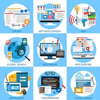 Web-entwicklungs-konzept-set