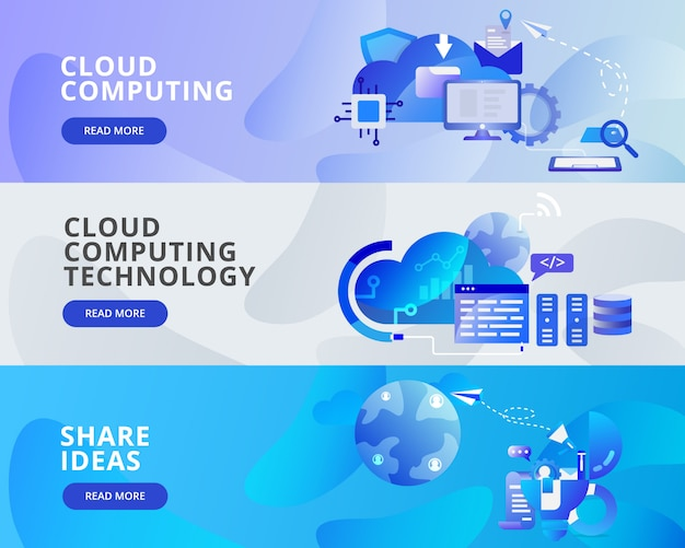 Web-fahnen-illustration der wolken-datenverarbeitung, anteil-ideen