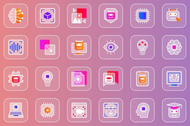 Web-glasmorphic-symbole für künstliche intelligenz eingestellt