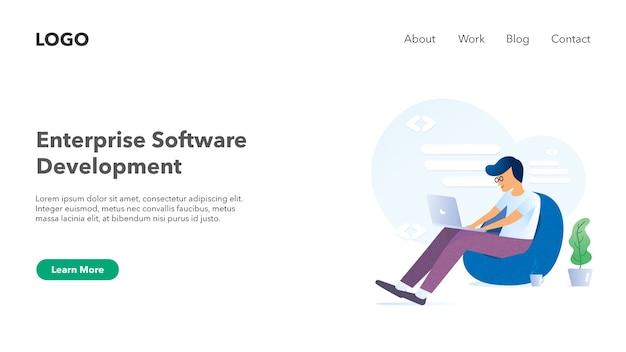 Web-header banner für software-unternehmen website lichtthema