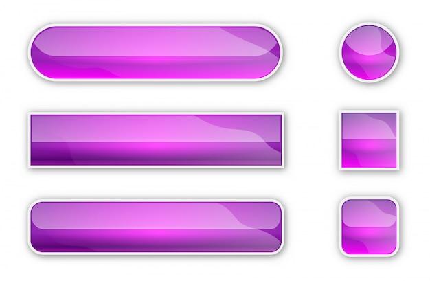 Web-hochglanzschaltflächen mit schatten. helle tasten isoliert