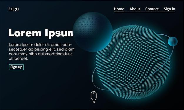 Web-homepage-vorlage mit symbolen und 3d-kugeln oder satelliten kreatives webseiten-design vektorhintergrund