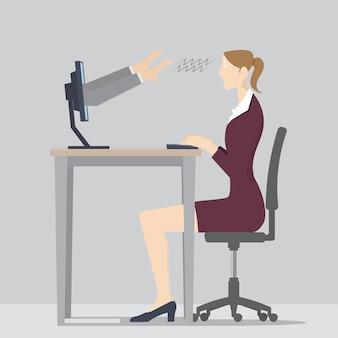 Web-hypnose-konzept. zwei hände kommen aus einem computerbildschirm, um eine frau zu hypnotisieren.