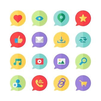 Web-icons für blogs und soziale netzwerke, online-shopping und e-mail, videodateien