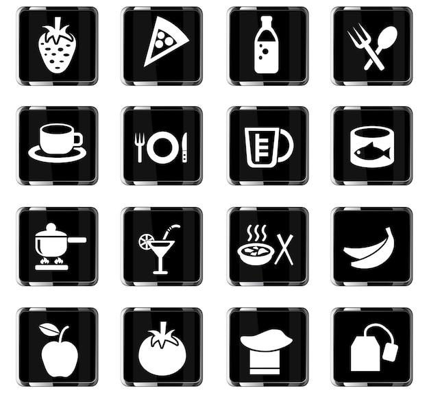 Web-icons für lebensmittel und küche für das design der benutzeroberfläche