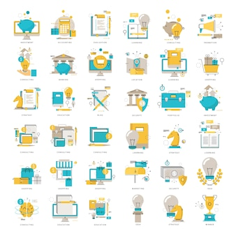 Web-icons sammlung flache linie vektor-illustration. zeilensymbole gesetzt. flache design web-grafik-elemente für finanzen, business, geld, investitionen, online-shopping, bildung, e-learning, internet-sicherheit