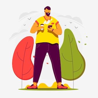 Web-illustration. ich möchte heute einen guten tag haben. mann trinkt kaffee und plaudert.