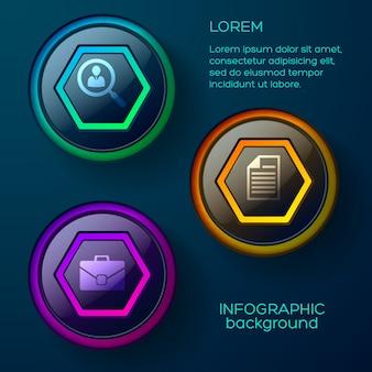 Web-infografik-konzept mit farbenfrohen hochglanzschaltflächen und geschäftssymbolen des textes