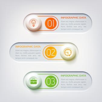 Web-infografik-vorlage mit drei runden horizontalen textformen