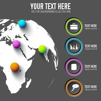 Web-infografik-vorlage mit grauen kreisen geschäftsikonen und farbigen kugeln auf globaler karte