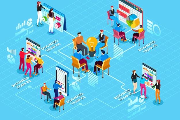 Web-infografiken des isometrischen startup-konzepts