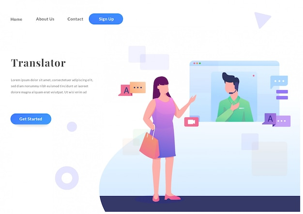 Web landing page online-übersetzer