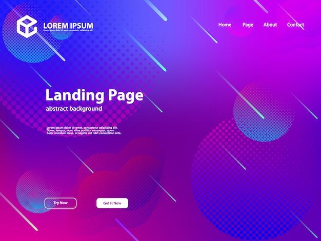 Web landing page vorlage hintergrund mit abstrakten design