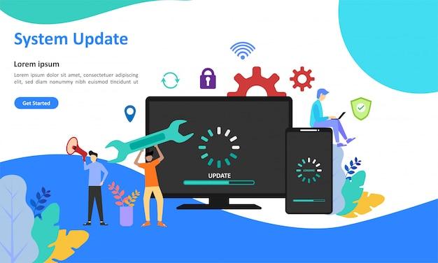 Web-landing-seite für system-updates