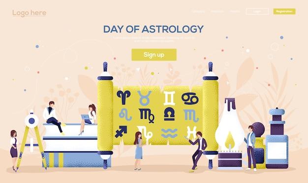 Web-landingpage für das konzept der astrologischen ausrüstung. menschen charakter mit gegenständen rund um astrologische ausrüstung