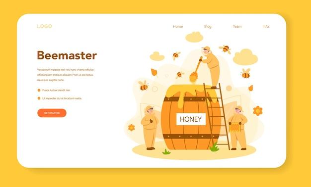Web-landingpage für hiver oder imker. professioneller bauer mit bienenstock und honig. land bio-produkt. bienenhaus, imkerei und honigproduktion. vektorillustration
