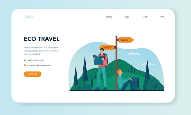 Web-landingpage für ökotourismus und öko-reisen. umweltfreundlicher tourismus in wilder natur, hicking und kanufahren. tourist mit rucksack und zelt. vektorillustration.