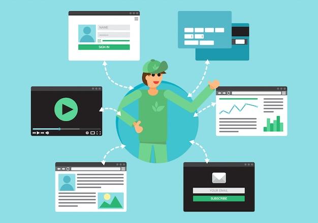 Web life von freiwilligen und aktivisten aus videos, blogs, sozialen netzwerken, online-shopping und