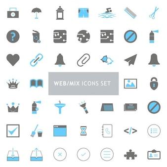 Web-mix-icon-set schwarz und blau