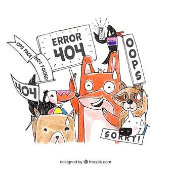 Web-schablone des fehlers 404 mit gezeichneter art der tiere in der hand