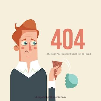 Web-schablone mit 404 fehlern mit traurigem mann