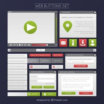 Web-schaltflächen in grüner farbe gesetzt