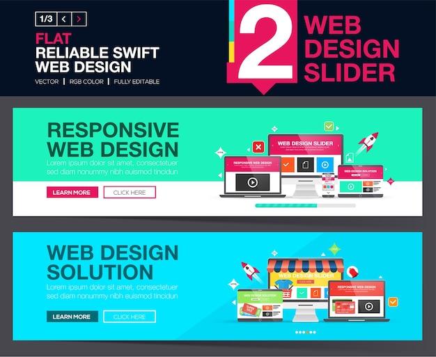 Web-slider oder banner-designkonzepte für ihre website.