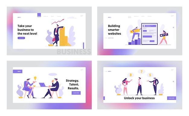 Web software development concept konzept landing page set