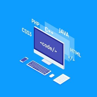 Web-software-entwicklung, programmierung und codierung. laptop mit der großen datenverarbeitung, rechnend isometrisch.