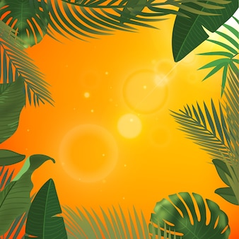 Web sommer banner. grüne palmblattschablone auf gelbem sonnigem hintergrund. sommer abstrakte illustration. realistisches bild tropisches paradies für reisen und ticketverkauf.