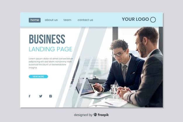 Web template für business landing page