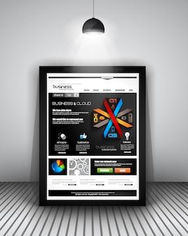 Web template mit infografiken design