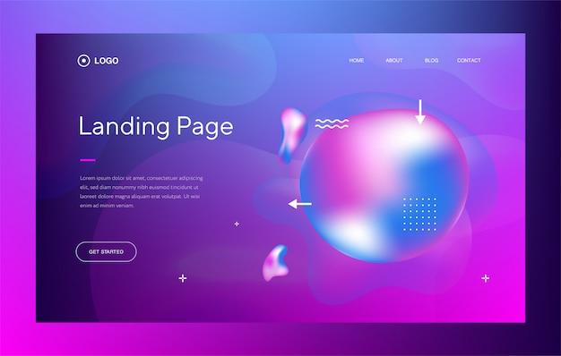 Web template oder landing page mit trendigem design