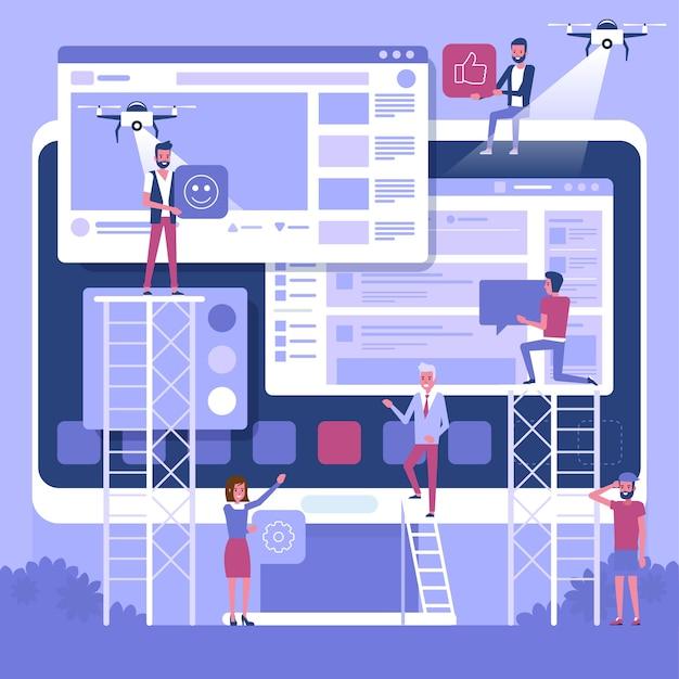 Web und entwicklung. baustelle im bau. ein team junger profis, die an einer landing page arbeiten. illustration, clipart. millennials bei der arbeit. digitale kreativwirtschaft.