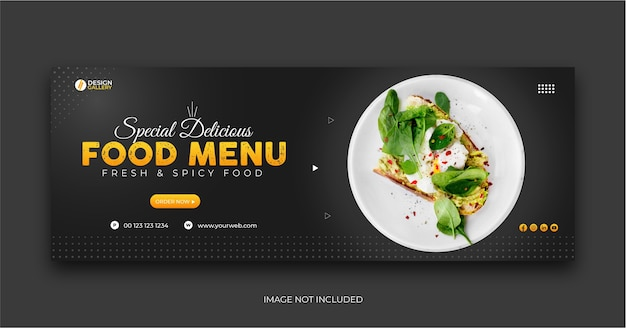 Web und social media fast food restaurant menü cover banner vorlage