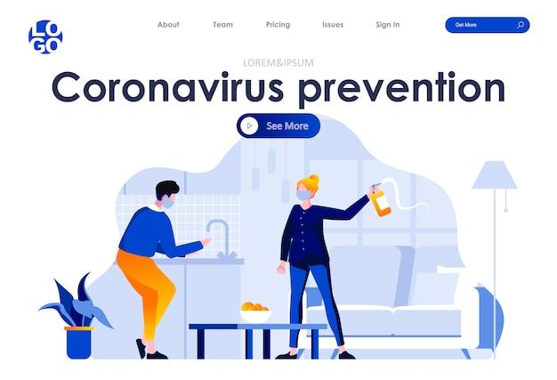 Web-vorlage für die flache landingpage-gestaltung mit coronavirus-prävention