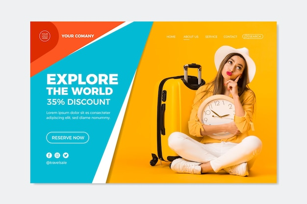 Web-vorlage für reiseverkaufs-landingpage