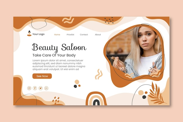 Web-vorlage für schönheitssalons