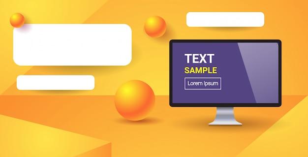 Web-vorlage mit leeren balken für website oder app-computer-monitor mit leerem bildschirm digitale technologie horizontalen kopierraum