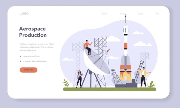 Web-vorlage oder landingpage-set für die luft- und raumfahrtindustrie.